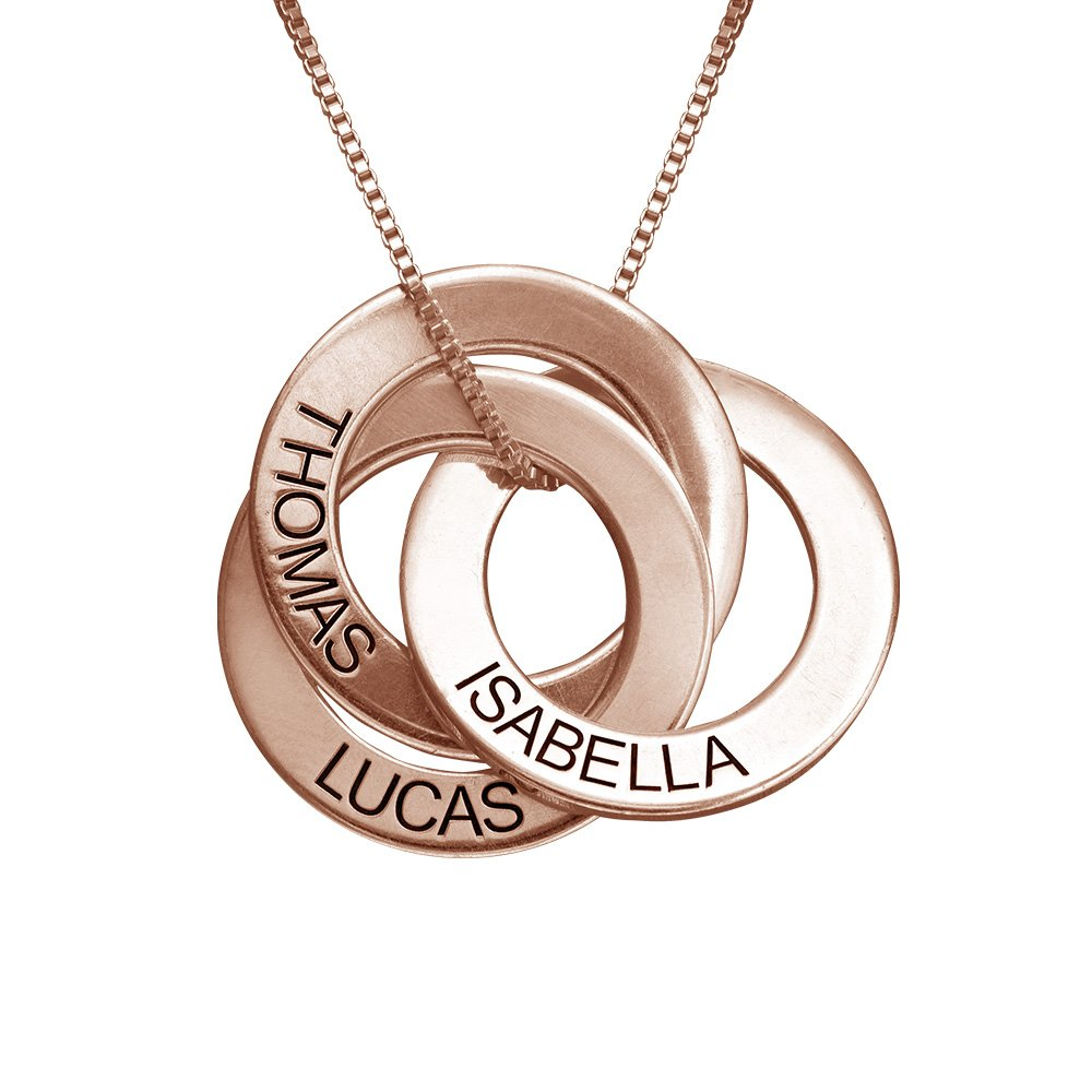 MyNameNecklace Personalized Russian Ring Engraved Name Necklace Personalized 3 Circles Disc Mother Day Jewelry Gift