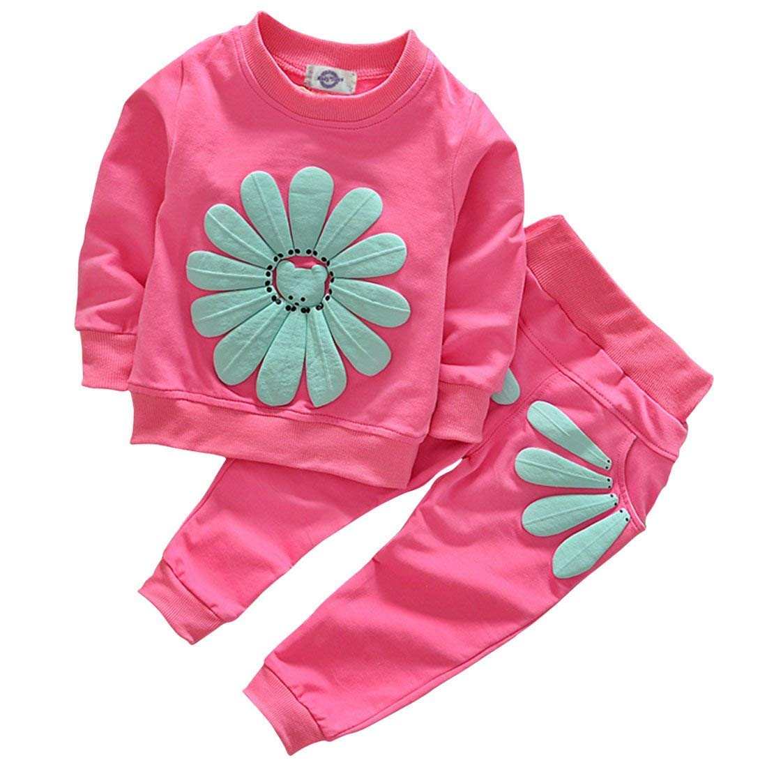 LOliSWan Toddler Baby Girls Sunflower Clothes Set Long Sleeve Top and Pants 2pcs Outfits Fall Clothes