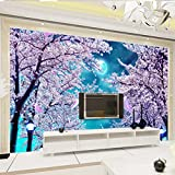 LHDLily Dream Landscape 3D Living Room Sofa Aisle Coffee House Supermarket Sakura Flowers Wallpaper Mural 350cmX250cm