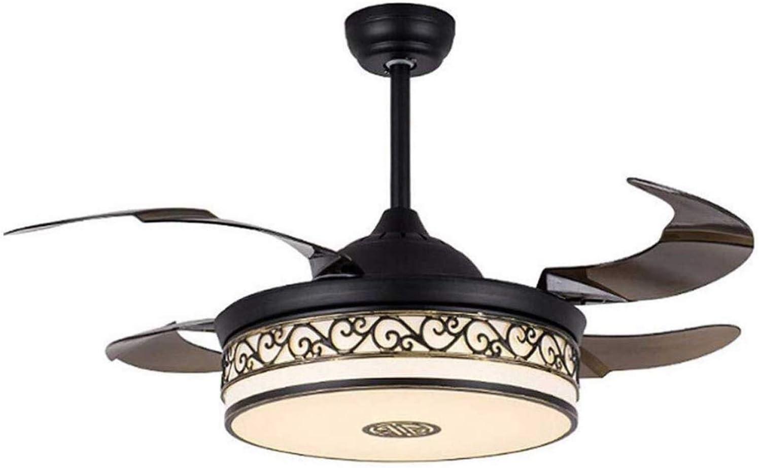 ZCCYMX1996 Lámparas de control remoto, ventilador de techo de la cortina de luz Luz Ventilador LEDDimmable lámpara colgante silencioso motor tela de la lámpara con teledirigido for la sala de estar do