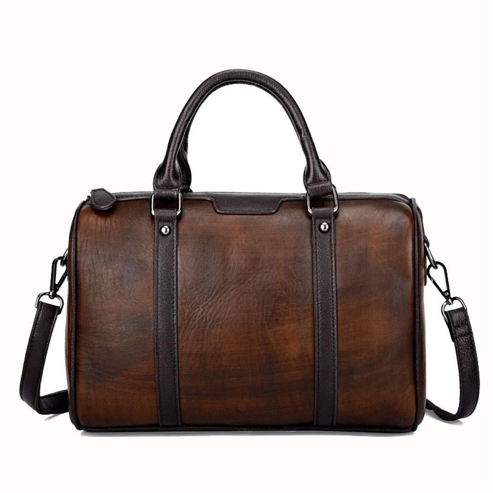 旅行ダッフルバッグレザーメンズバッグレトロショルダーバッグファーストレイヤーレザーハンドバッグメンズメッセンジャーバッグ 旅行用ハンドバッグ (色 : Dark brown) B07QFZ7Z63