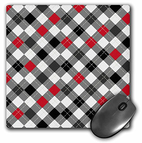 Roses Argyle (3dRose Pretty White Black Red and Grey Classic Argyle Pattern - Mouse Pad, 8 by 8 inches (mp_116486_1))