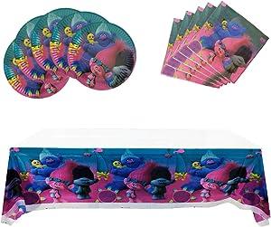 Trolls Party Supplies, 20 Plates + 20 Napkin + Tablecloth, Trolls Theme Party Decoration