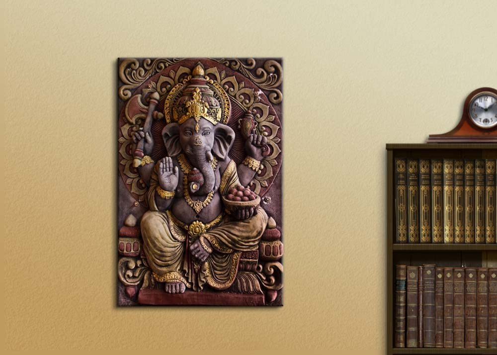 Sculpture of Gannesa Hindu God - Canvas Art Wall Art - 12