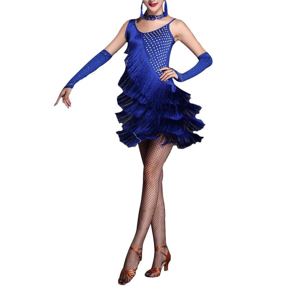 Bleu Dfghbn Femmes sans Manches Gland Robe De Danse Latine Outfit Strass Frange Flapper Robe Sway Danse Robe De Cocktail Lady Salle De Bal Perforhommece Costume De Danse Jupes de Danse pour Femmes Medium