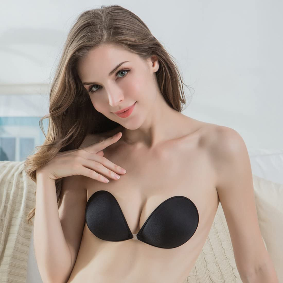 Hioffer Self Adhesive Backless Bralette Soft Invisible Push Up Bra Lingerie Lift Bras for Women