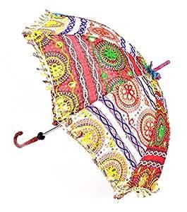 Elegante algodón bordado trabajo decorativo paraguas para boda 24x 28inch