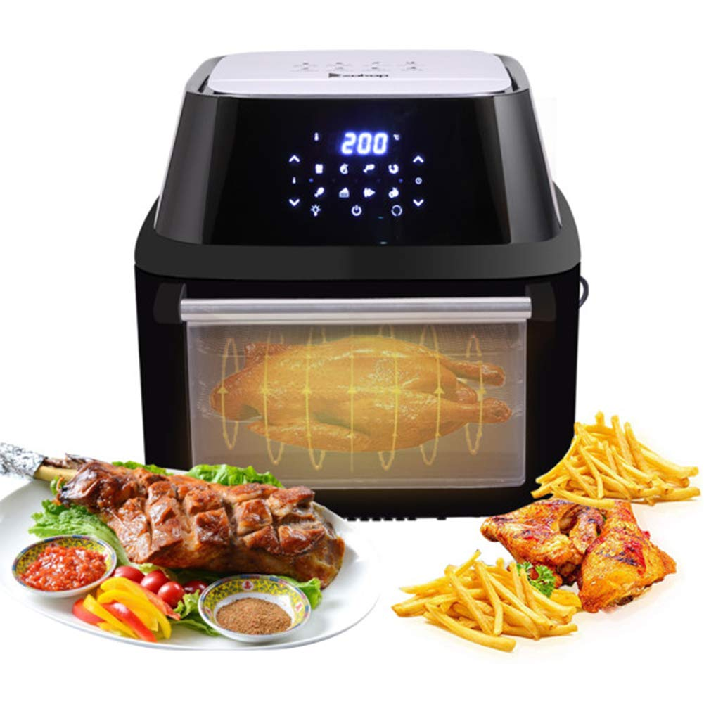 ZOKOP Air Fryer, 16.9QT 1800W Extra Large Family Size Electric Air Oven, LED Digital Touchscreen, 8 Cooking Preset, Oilless Cooker, Rotisserie, Dehydrator, Black by ROVSUN