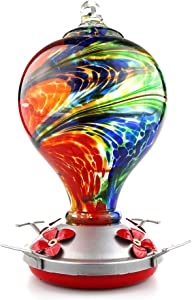 Muse Garden Hummingbird Feeder for Outdoors, Hand Blown Glass, 32 Ounces, Containing Ant Moat, Nebula