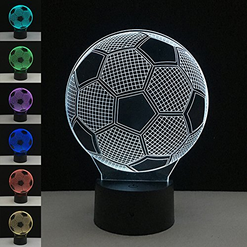 3D Night Light Touch Table Desk Lamp, 7 Colors 3D Optical Illusion Lights with Acrylic Flat & ABS Base & USB Charger for Christmas Gifts (Football) - Acrylic Ball Table Lamp