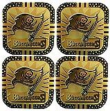 4 Tampa Bay Buccaneers NFL Licensed Fremont Die Gold Metal Drink Coasters