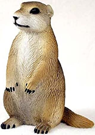 Custom Unique 5 Inch 1 Single, Home Garden Standing Figurine Decoration Made of Resin w Realistic North American Prairie Dog Style Tan White Color