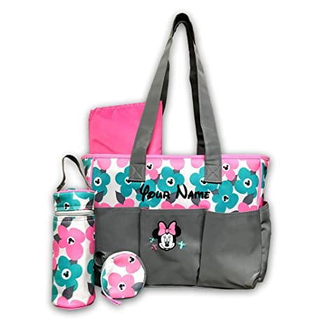 Amazon personalized disney minnie mouse pink and teal flower personalized disney minnie mouse pink and teal flower print triple front pocket baby duffel diaper bag negle Image collections