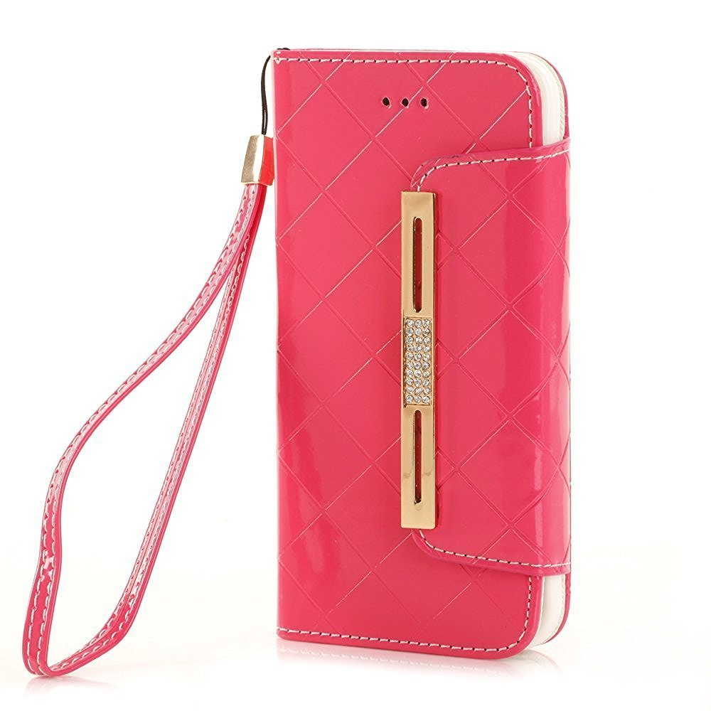 iPhone Sleeve 6S Plus Shell, TechCode Stylish Candy Colour PU Leather Flip Lady Multi Envelope Wristlet HandBag Clutch Wallet Case for Women Stand Case Cover for iPhone 6 Plus/6S Plus(white-A01) PP-SS-I6L-W