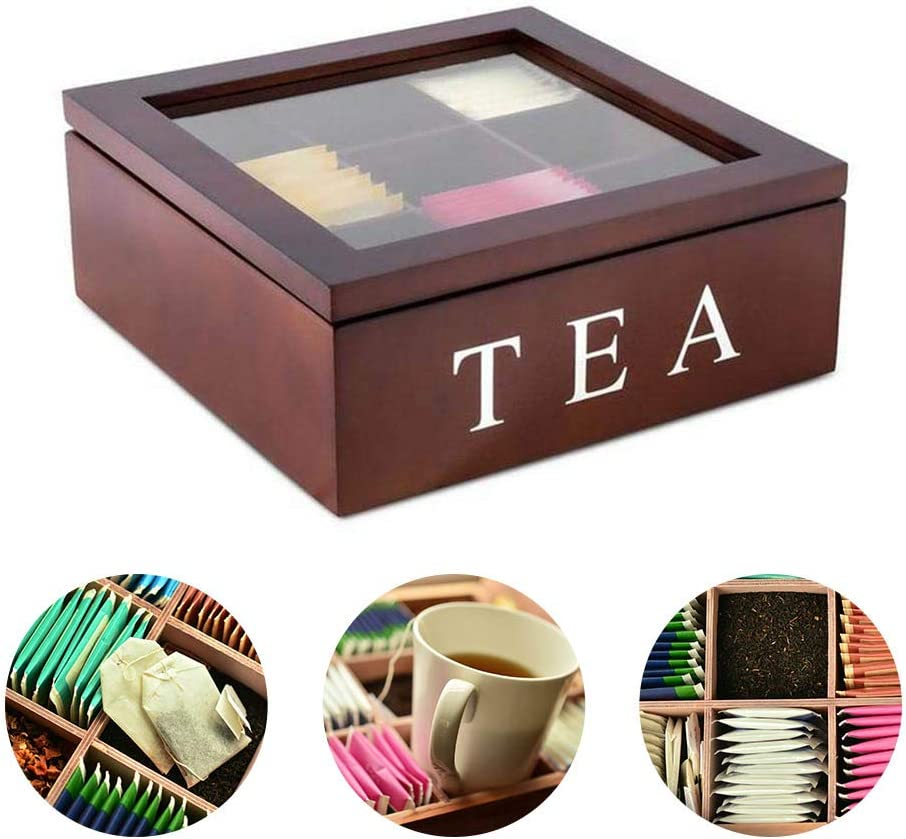 Bamboo Tea Box Organizers and Storage Royal House Drawer Organizer Red Natural Bamboo Tea Bag Organizer Box with Small Drawer