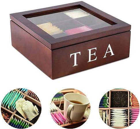ShangSky Caja de té de madera, cajas de organizador de bolsas de té con 9 compartimentos más profundos Regalo elegante para té Flores secas de café protegen el almacenamiento: Amazon.es: Hogar