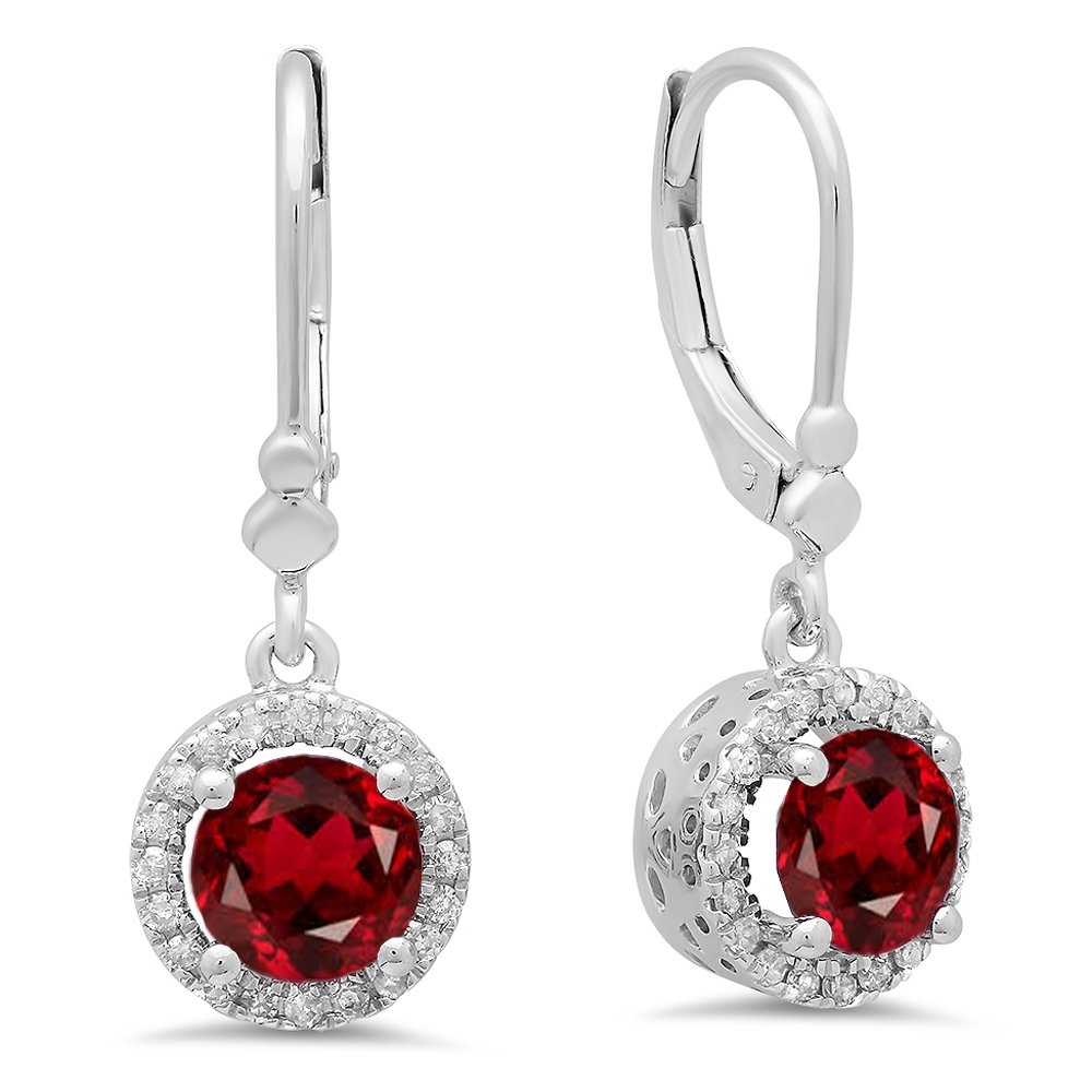 14K White Gold Round Garnet & White Diamond Ladies Halo Style Dangling Drop Earrings