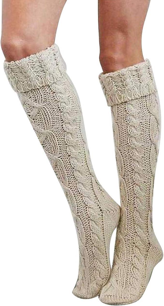 1 Pair Girls Student School Socks Knee High Stockings Casual Knit High Socks Female Solid Socks