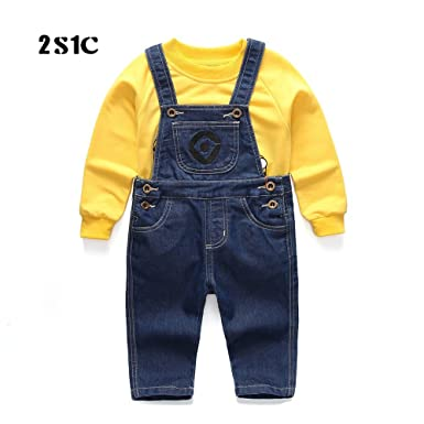 Baby u0026 Little Boys/Girls Minion Cosplay Denim Overalls Suit Sweater Long Sleeve Minion Romper  sc 1 st  Amazon.com & Amazon.com: Baby u0026 Little Boys/Girls Minion Cosplay Denim Overalls ...