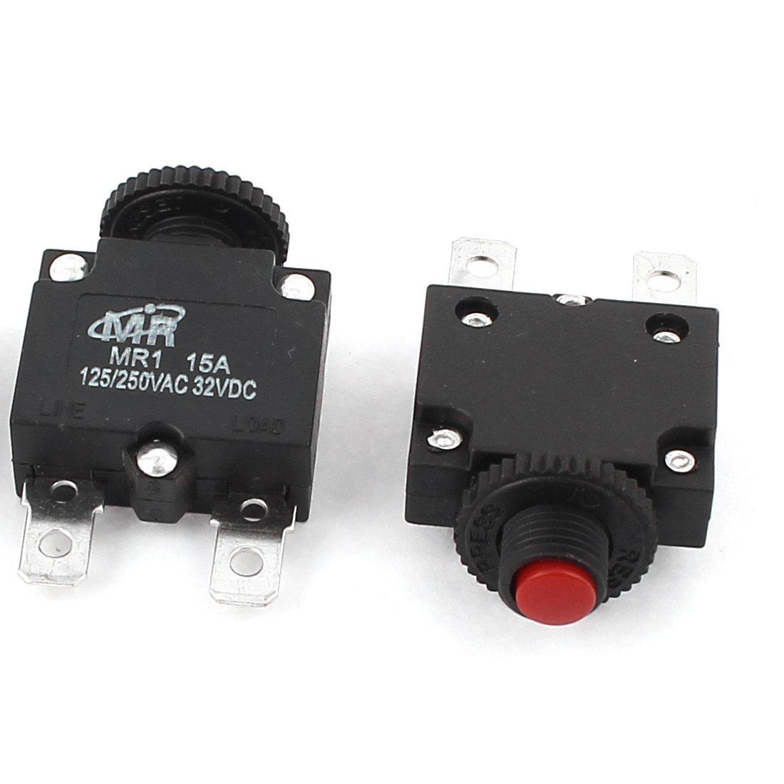 DC 32V AC 125V / 250V 15A Push Button Circuito de rearme del disyuntor 3pcs Negro - - Amazon.com