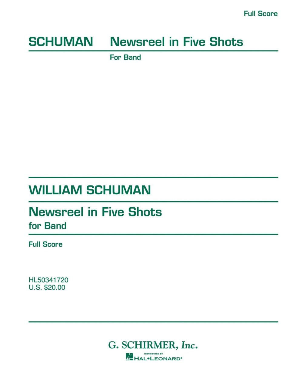 Download G. Schirmer Newsreel in Five Shots (Full Score) Concert Band Composed by William Schuman pdf epub