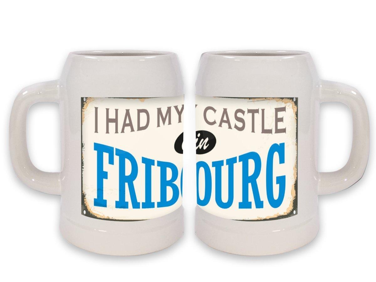 Jarra de Cerveza Pasión Viajes Ciudad Suiza Fribourg impreso