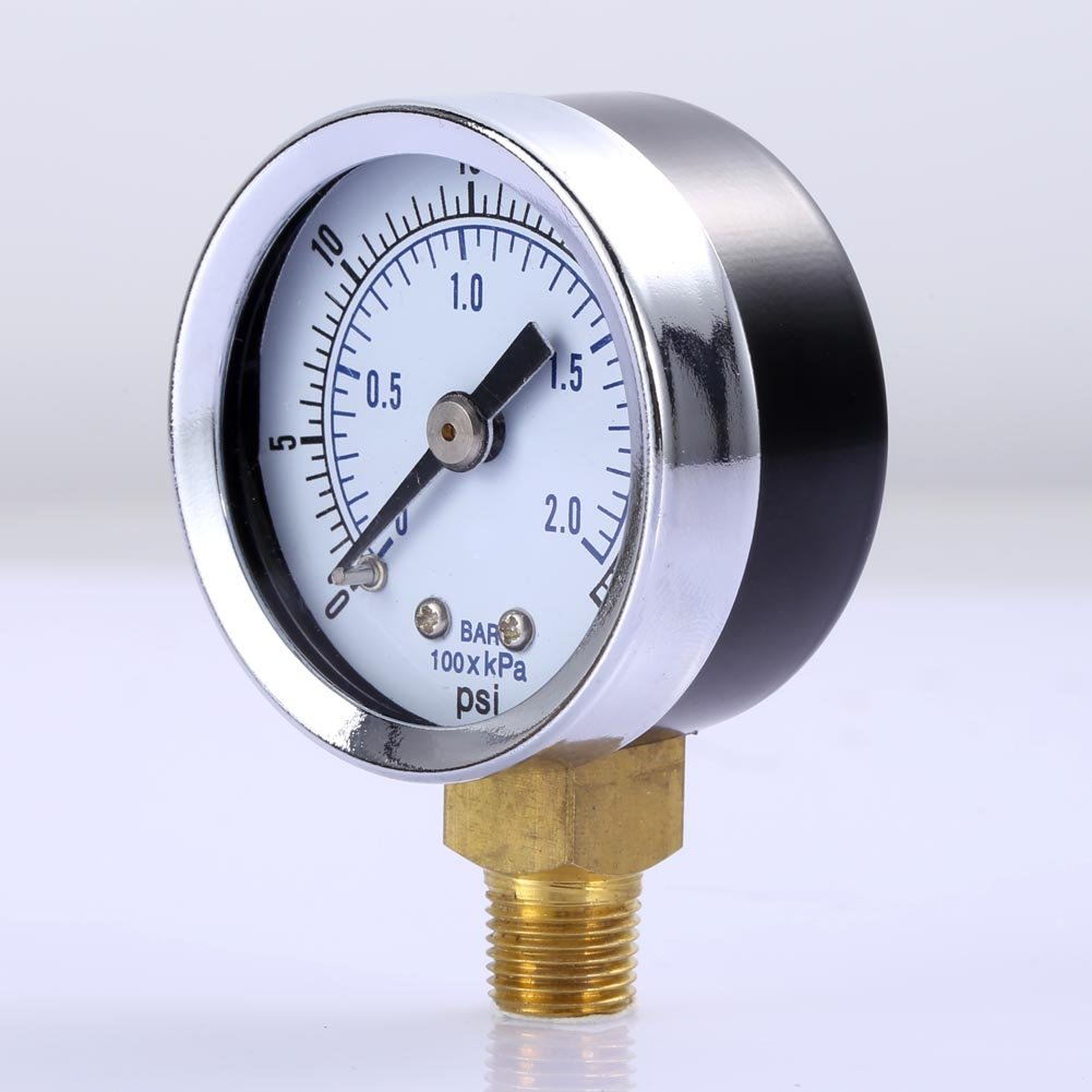 Vanpower Pressure Gauge,1//8 NPT Air Compressor//Hydraulic Pressure Gauge 0-30 PSI Side Mount 1.5Face