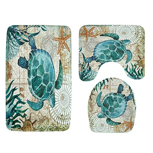 (3 Pieces Soft Flannel Bathroom Mat Set Non-Slip Bathroom Rug Contour Mat Absorbent Toilet Mat Lid Cover Set Turtle)