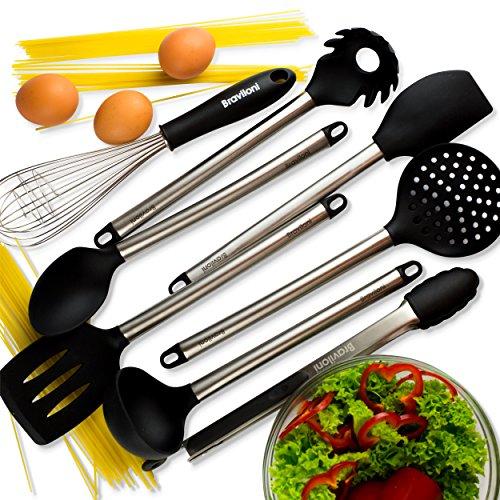 Kitchen utensils 8 piece cooking utensils nonstick for Kitchen kit set