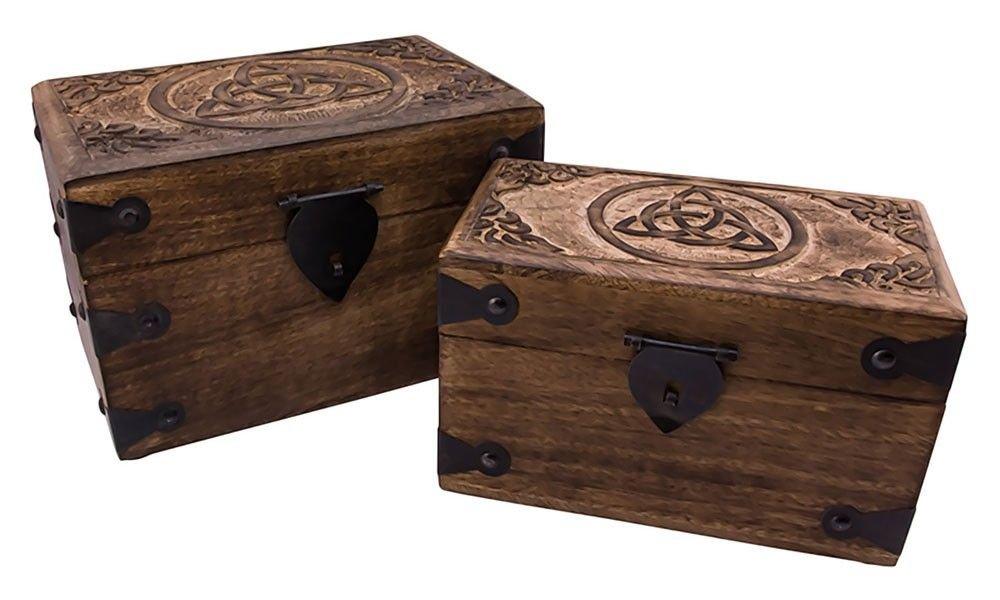Holzlade Talesin Truhe set aus Holz Mittelalter Schmuckschatulle groß: 23x15x15 cm klein: 20x11x12 cm (Truhe Talesin Klein) Holzspielerei BG