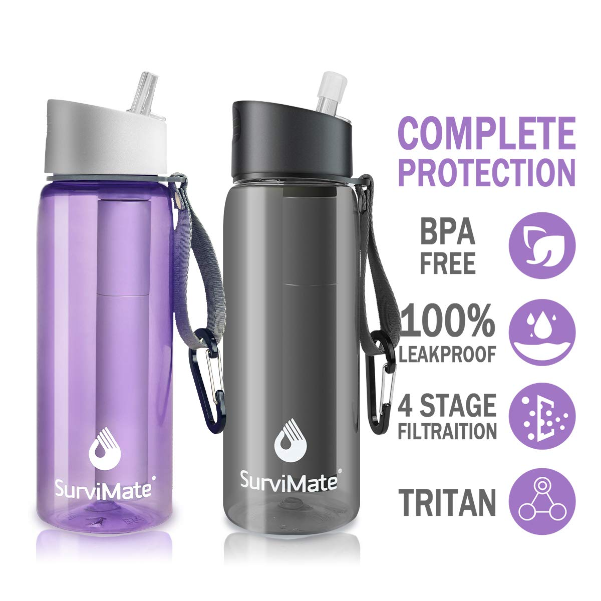 SurviMate Filtered Water Bottle, BPA Free Tumblers with 4-Stage Intergrated Filter Straw for Camping, Hiking, Backpacking and Travel Black and Purple by SurviMate