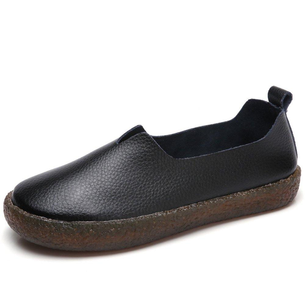 Zefani Women's Comfortable Leather Slip On Flat Loafers Summer Round Toe Walking Shoes Black 7 B(M)