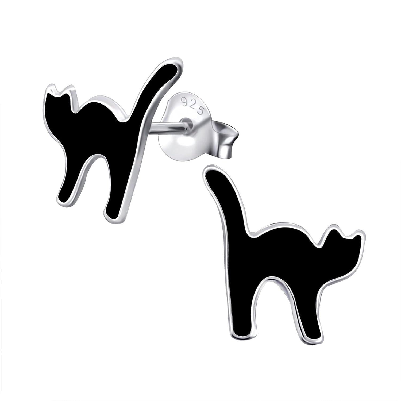 Black Cat Earrings  Sterling Silver