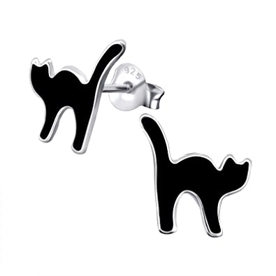 Black Cat Earrings - Sterling Silver Gift  Amazon.co.uk  Jewellery 1cb1537d95