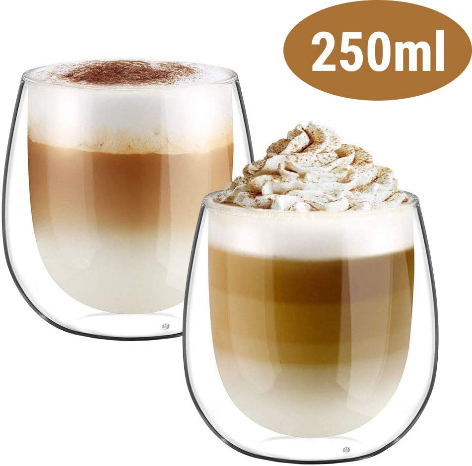 6 Paquete de vidrio de latte Té Café Café Capuchino Taza de Bebida Caliente 240ml Conjunto de Regalo