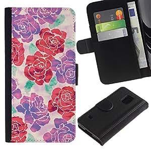 Paccase / Billetera de Cuero Caso del tirón Titular de la tarjeta Carcasa Funda para - begonia rose floral silk art design spring - Samsung Galaxy S5 V SM-G900