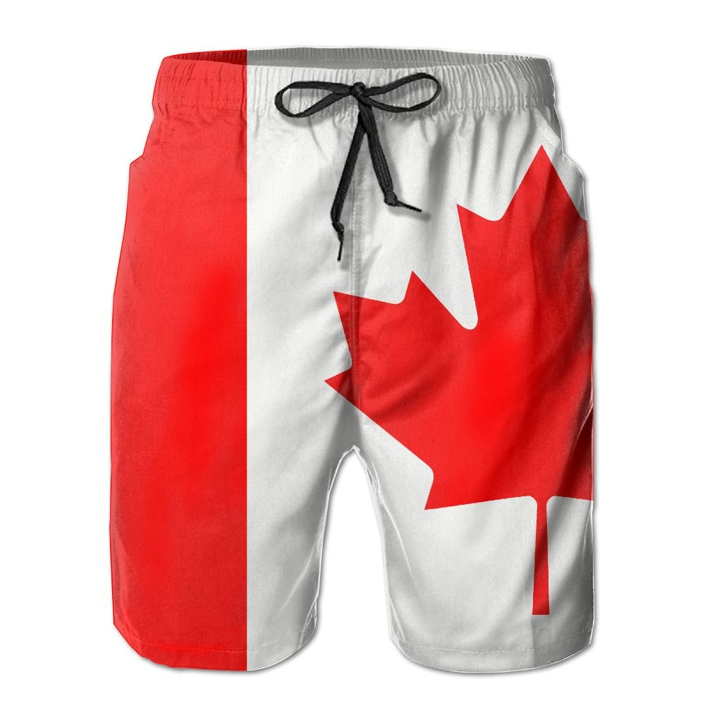 Canada Flag Men's Casual Beach Board Shorts Quick-drying Swim Trunks