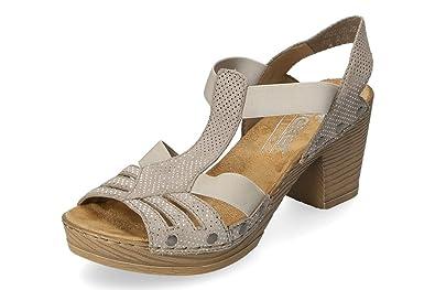 Details zu Rieker Damen Sandale Grau Keilabsatz Sandalette Blumen Schuhe 62461 43 NEU
