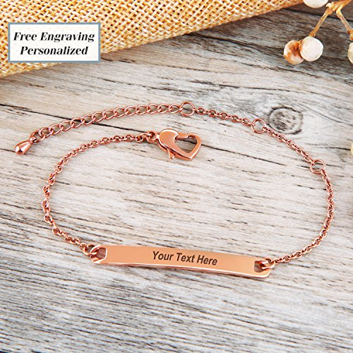 Shefine Personalized Bracelet Bridesmaid Bracelet Friendship Bracelet Engraved Stainless Steel Bracelet