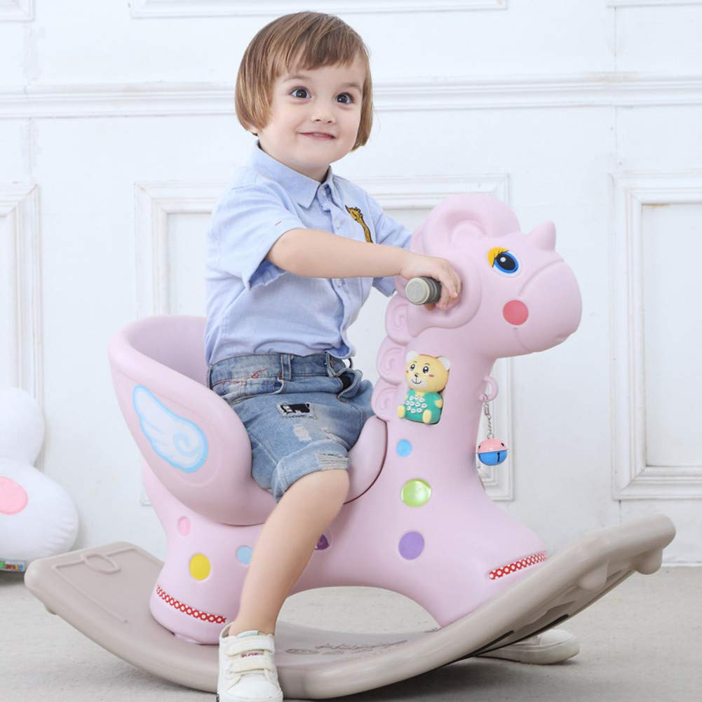 Child Rocking Horse Toy Plastic Rocking Horse Animal Rocker Toy Rocking Horse Toddler Baby Music Rocking Chair Horse Thicken Children's Toys 1-6 Years Old Horse Carriage-A 40x53x88cm(16x21x35)