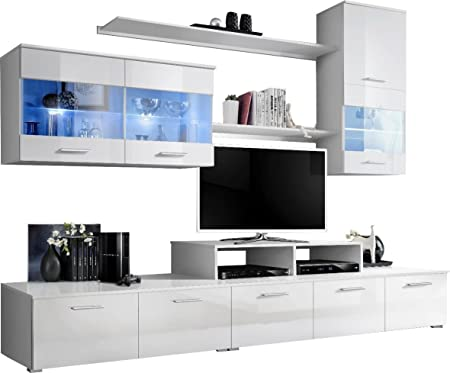 Conjunto pared mueble TV LED negra blanco: Amazon.es: Hogar
