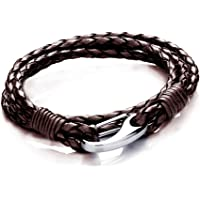Tribal Steel Men Brown Wrap Bracelet of Length