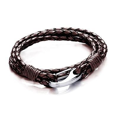 Tribal Steel 19cm Black Leather, Double Wrap bracelet for Women (average fit) or Men (small fit)