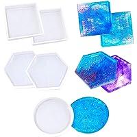 Coaster Hars Mallen 5 Pack, KANOSON Transparante Siliconen Mould Inclusief Zeshoek, Vierkant, Ronde Vorm Vorm, Siliconen…