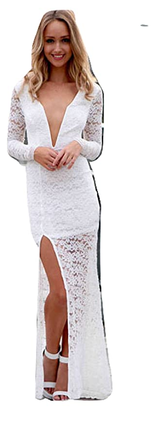 Ladies blanco bordado encaje manga larga de vestido de fiesta Cruise vestido boda fiesta Prom tamaño