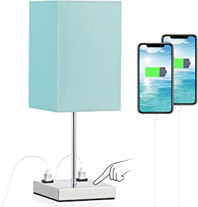 Touch Control Lamp for Night Table, Bedroom Nightstand Table Lamp, 3 Way Dimmable with 2 Prong Outlets, Teal Fabric Shade, Chrome Lamp Base, Bedroom, Livingroom Decor(Bulb Included)