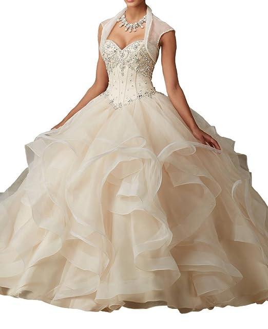 promworld encanto de las mujeres quinceañera Vestido de novia con cuentas