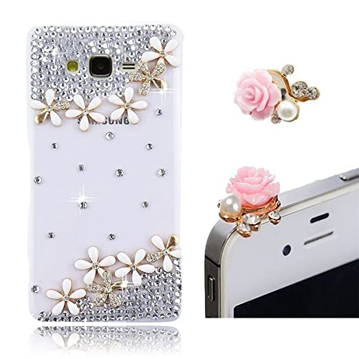 2 opinioni per Vandot 2 in 1 Attraente 3D Strass Pearl Decal Duro PC Case Cover Hard TPU