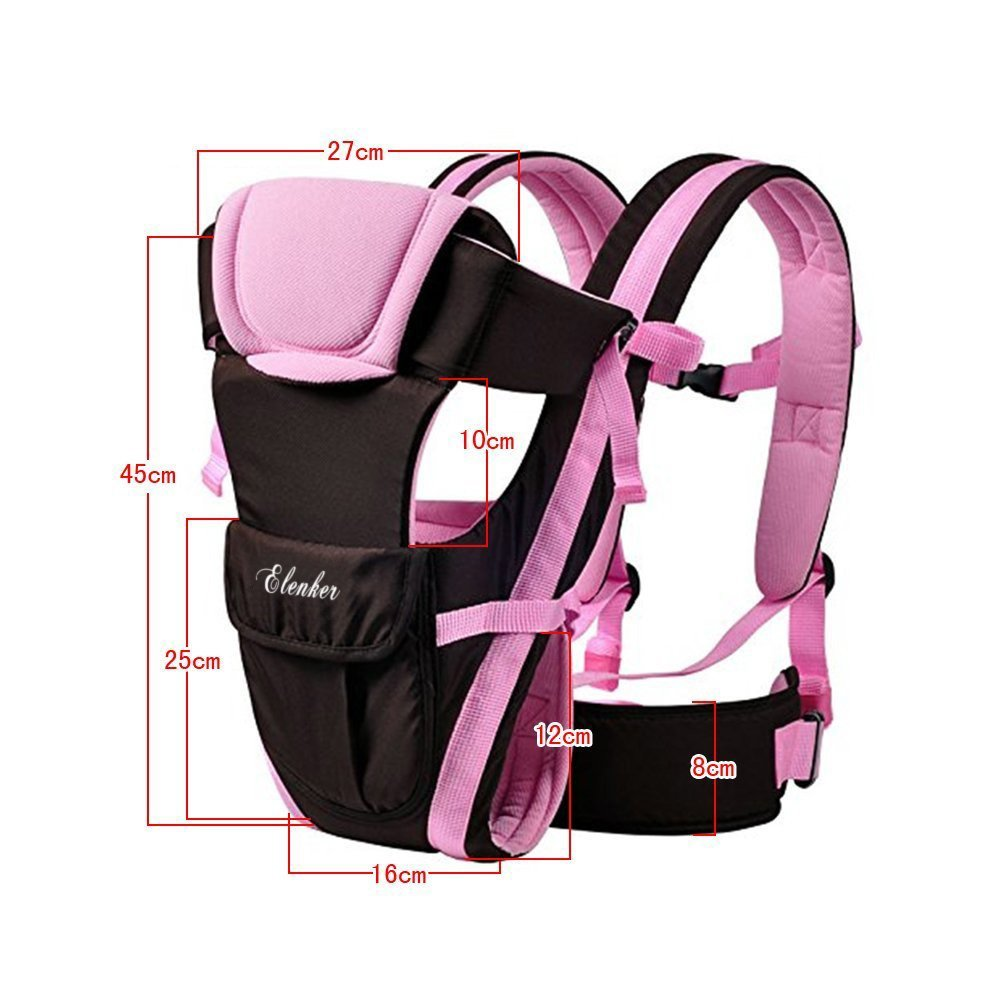Breathable Fabric Adjustable Comfortable Strap 3-18 kg, 0-30 months Elenker Multifunctional Baby Carrier with 4 Positions