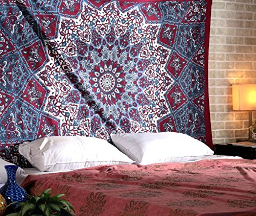 Thread Tapestry (Thread Spread Hippie Mandala Bohemian Psychedelic Kaleidoscopic Star design Tapestry- 100% Natural Dyes - Maroon - Twin)
